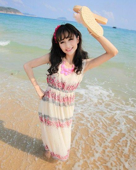 碎花无袖沙滩裙第1张