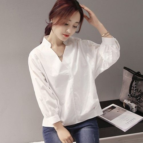 V领套头白衬衫第1张