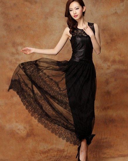 蕾丝拼接水洗皮连衣裙第6张
