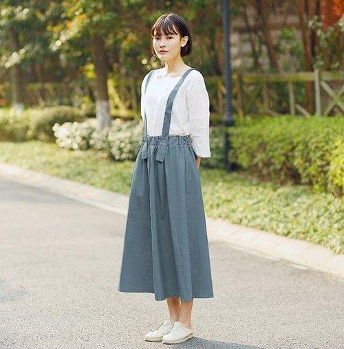 棉麻背带半身裙第1张