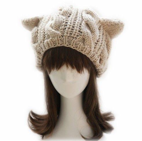 猫耳朵针织毛线帽第1张