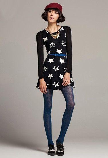 星星收腰毛衣裙第1张