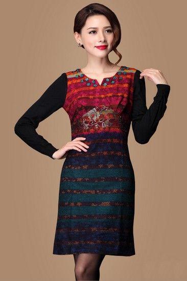 异域风条纹钉珠连衣裙第1张