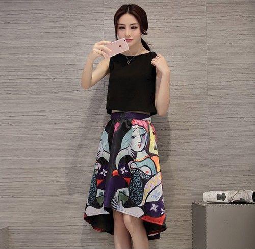 波普印花裙装两件套第1张