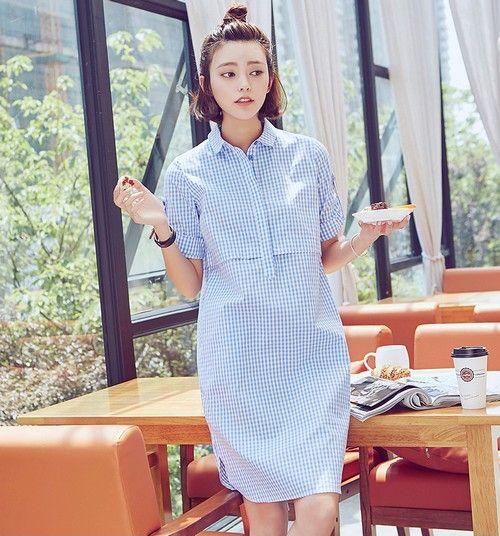 翻领蓝格衬衫裙第1张