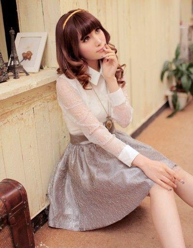 白配灰蕾丝连衣裙第8张