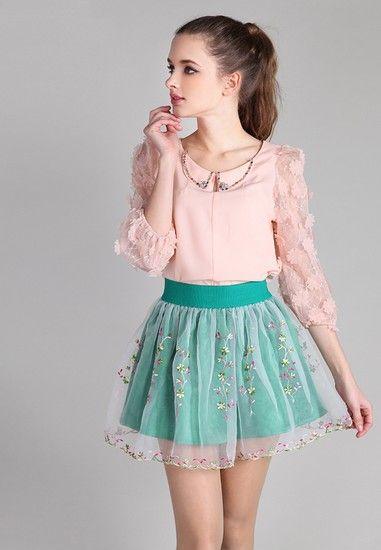 高腰半身纱裙第1张