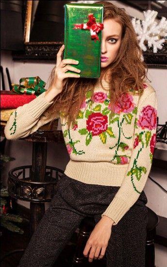 复古圆领大花朵针织毛衣第1张
