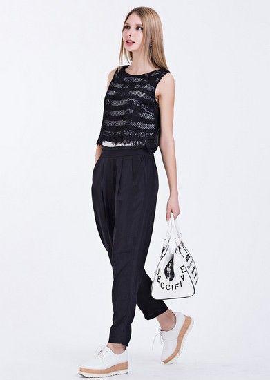 黑色蕾丝网纱提花雪纺假两件连体裤第1张