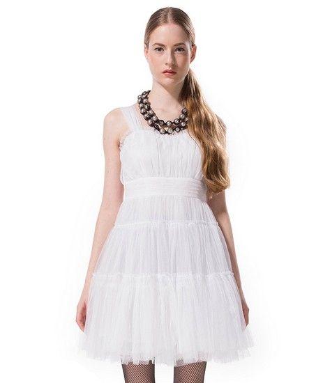 白色蓬蓬吊带连衣裙第1张