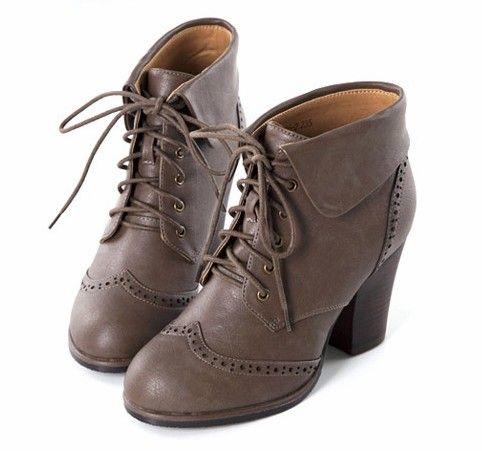 复古牛津系带粗跟靴第1张