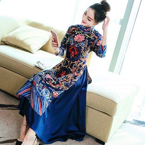 中国风刺绣连衣裙第1张