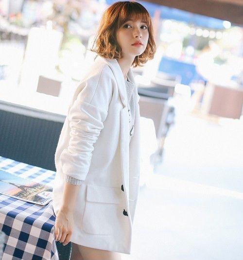 纯白宽松西装外套第1张