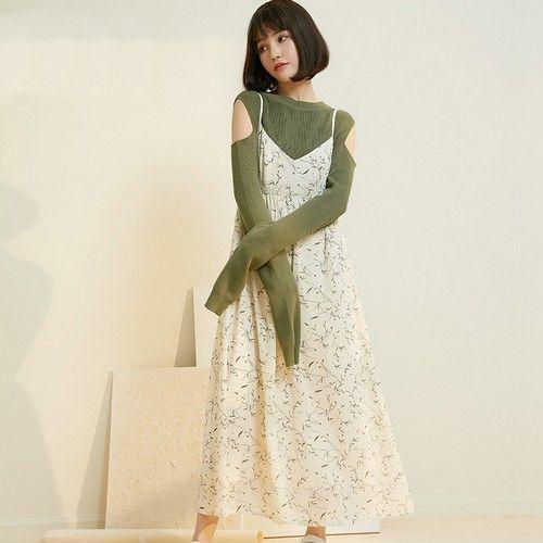 V领印花吊带连衣裙第1张