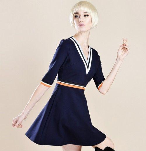V领撞色条纹收腰连衣裙第1张