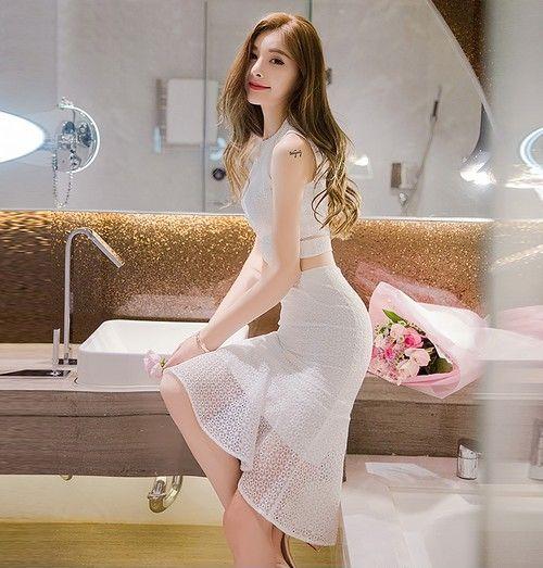 蕾丝露腰修身两件套裙装第4张