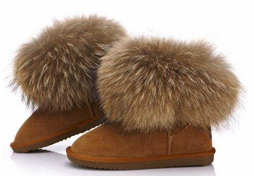 狐狸毛牛皮雪地靴第1张