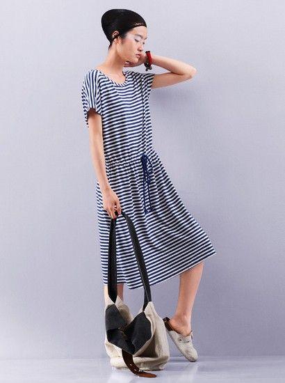 腰间抽绳短袖连衣裙第6张