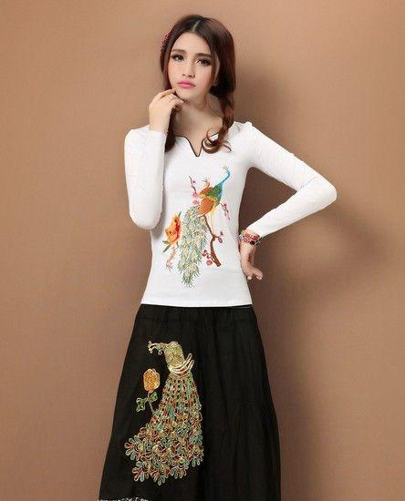 中国风刺绣针织T恤第2张