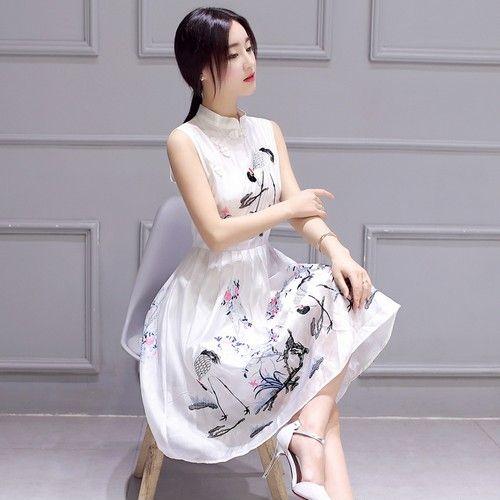 仙鹤图画刺绣立领连衣裙第1张
