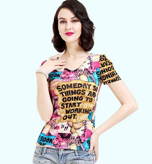 V领印花网纱T恤第1张