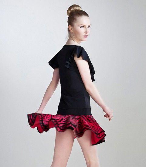 蝴蝶袖豹纹裙摆拉丁舞裙第5张
