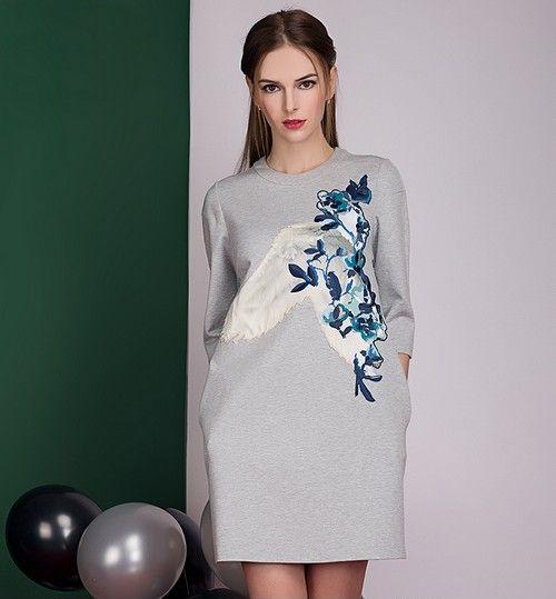 七分袖绣花卫衣裙第1张