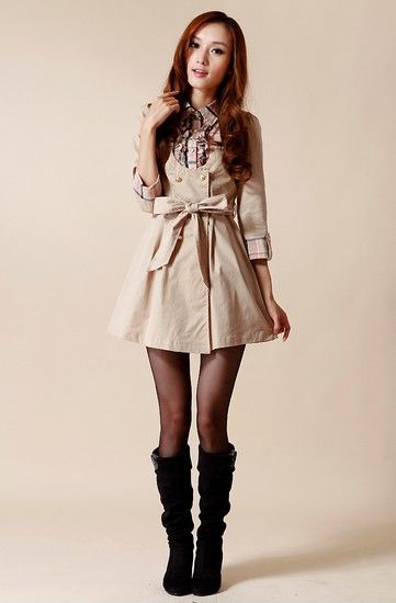 假两件格纹衬衫风衣裙第4张