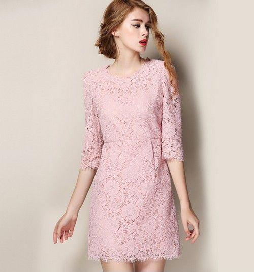 七分袖蕾丝连衣裙第1张