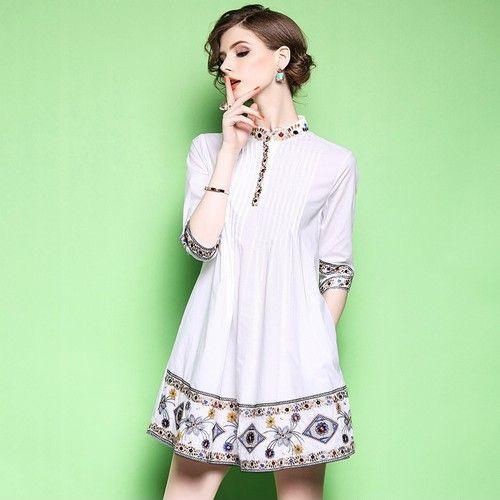 七分袖衬衫连衣裙第1张