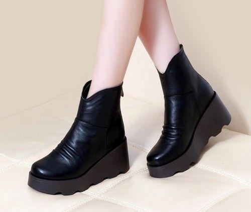 坡跟厚底真皮短靴第8张