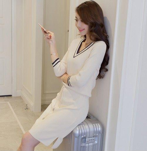 V领针织连衣裙第5张