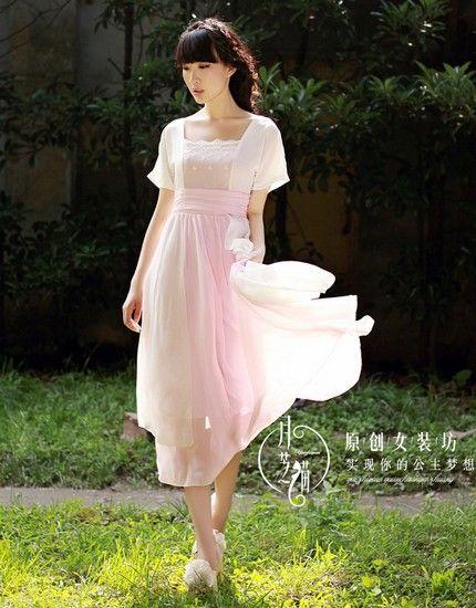 高腰雪纺方领复古长裙第1张