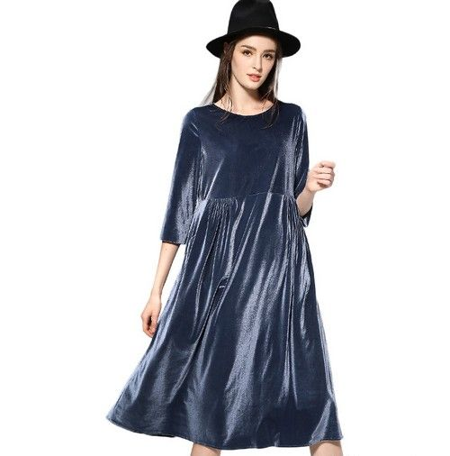 七分袖金丝绒连衣裙第1张