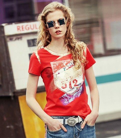 印花个性收腰短袖T恤第1张