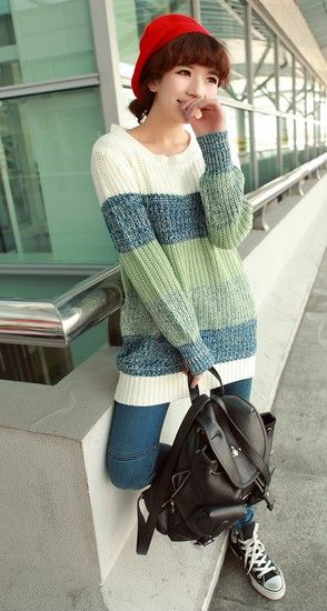 条纹撞色针织毛衣第1张