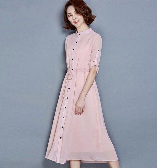 粉红长款衬衫裙第1张