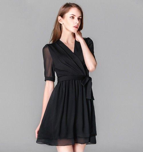 V领雪纺系带连衣裙第1张