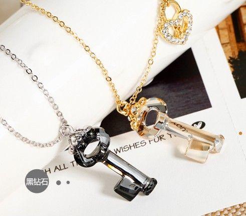 爱情密匙水晶项链第1张