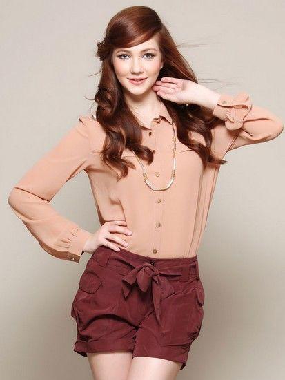 纯色长袖雪纺衬衫 第4张