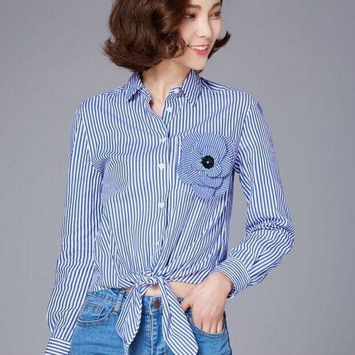 竖条纹打结休闲衬衫第2张