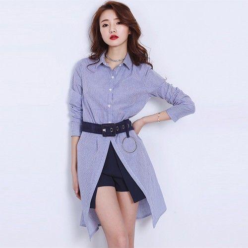 宽松条纹中长衬衫裙第1张