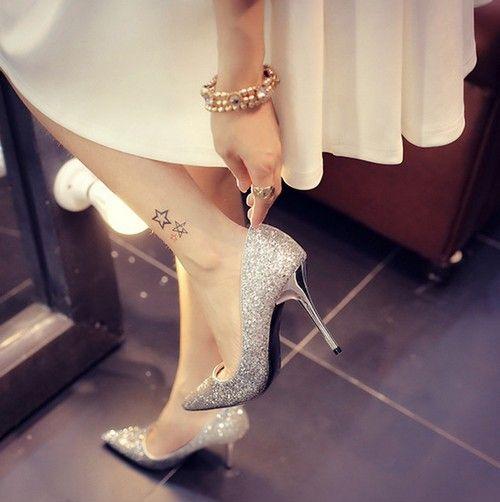 亮片细高跟水晶鞋第1张