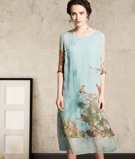 印花圆领中式直筒长裙第1张