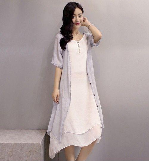 纯色开衫裙套装第1张