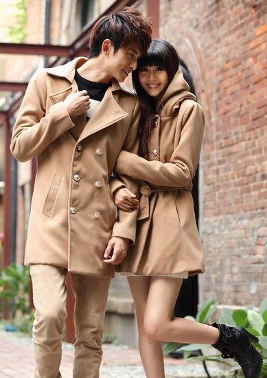 韩版修身厚毛呢风衣外套第5张