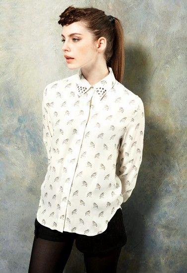 铆钉小鸟印花雪纺衬衫第1张