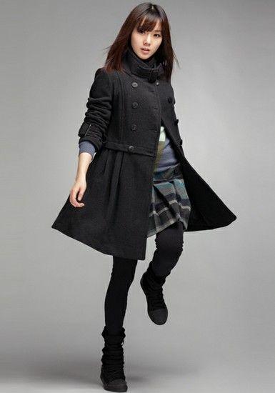 韩版显瘦中长款大衣第1张