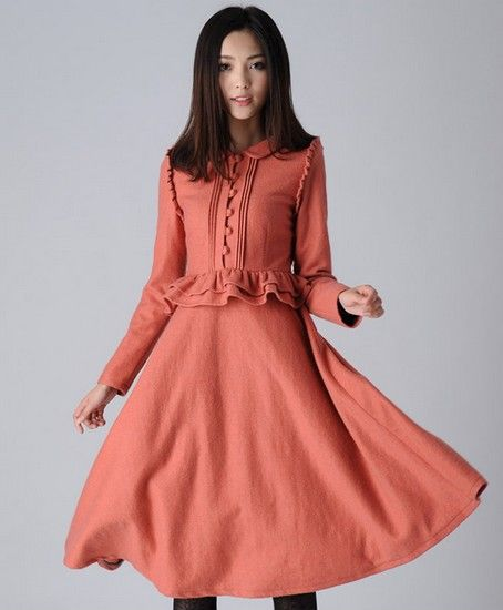荷叶边复古连衣裙第1张