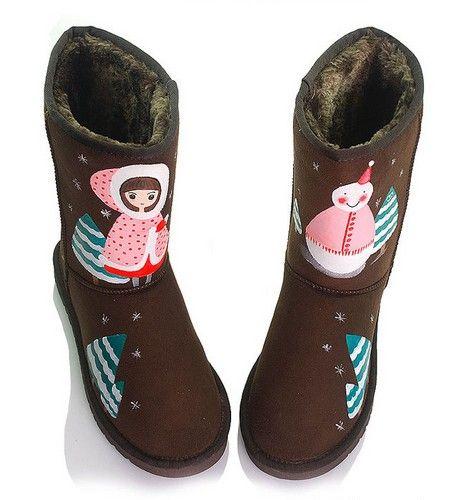 手绘保暖平跟雪地靴第1张